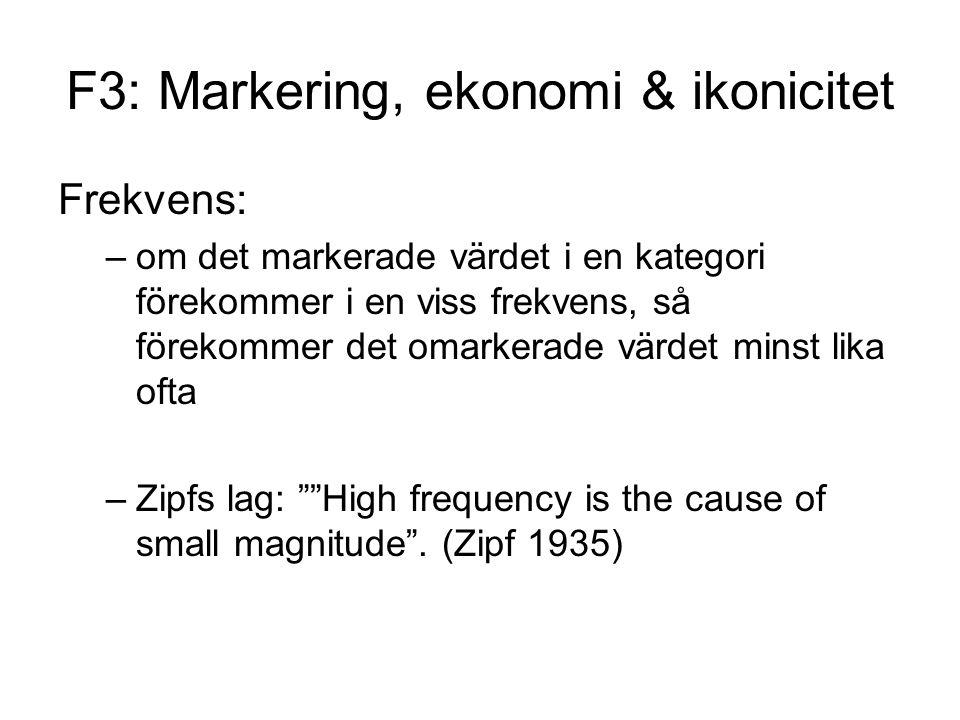 F3: Markering, ekonomi & ikonicitet Frekvens: –om det markerade värdet i en kategori förekommer i en viss frekvens, så förekommer det omarkerade värdet minst lika ofta –Zipfs lag: High frequency is the cause of small magnitude .