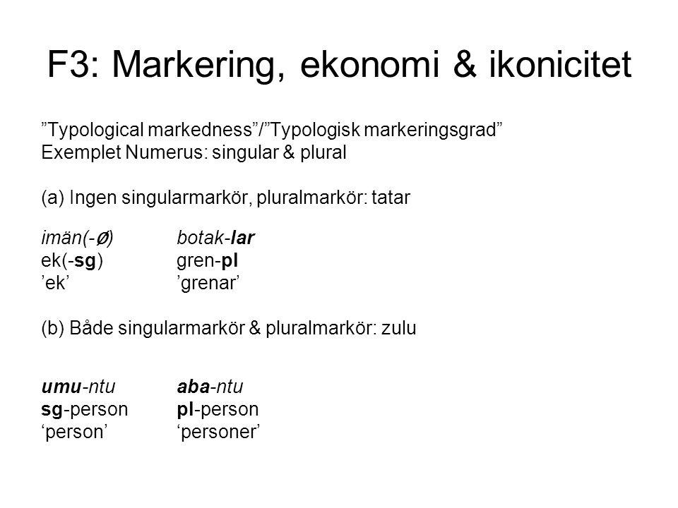 F3: Markering, ekonomi & ikonicitet Typological markedness / Typologisk markeringsgrad Exemplet Numerus: singular & plural (a) Ingen singularmarkör, pluralmarkör: tatar imän(- ∅ )botak-lar ek(-sg)gren-pl 'ek''grenar' (b) Både singularmarkör & pluralmarkör: zulu umu-ntu aba-ntu sg-personpl-person 'person''personer'