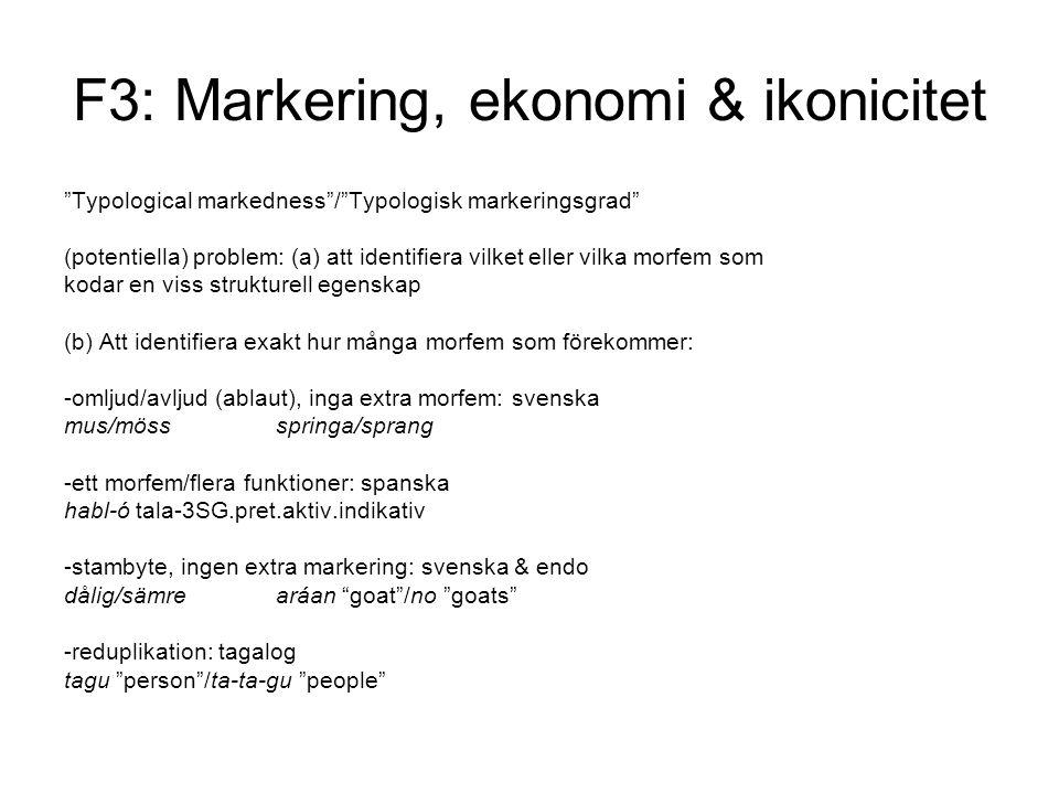 F3: Markering, ekonomi & ikonicitet Typological markedness / Typologisk markeringsgrad (potentiella) problem: (a) att identifiera vilket eller vilka morfem som kodar en viss strukturell egenskap (b) Att identifiera exakt hur många morfem som förekommer: -omljud/avljud (ablaut), inga extra morfem: svenska mus/mössspringa/sprang -ett morfem/flera funktioner: spanska habl-ó tala-3SG.pret.aktiv.indikativ -stambyte, ingen extra markering: svenska & endo dålig/sämrearáan goat /no goats -reduplikation: tagalog tagu person /ta-ta-gu people