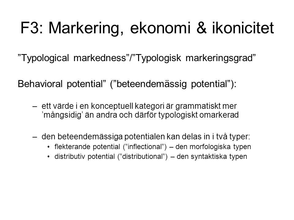 F3: Markering, ekonomi & ikonicitet Typological markedness / Typologisk markeringsgrad Behavioral potential ( beteendemässig potential ): –ett värde i en konceptuell kategori är grammatiskt mer 'mångsidig' än andra och därför typologiskt omarkerad –den beteendemässiga potentialen kan delas in i två typer: flekterande potential ( inflectional ) – den morfologiska typen distributiv potential ( distributional ) – den syntaktiska typen
