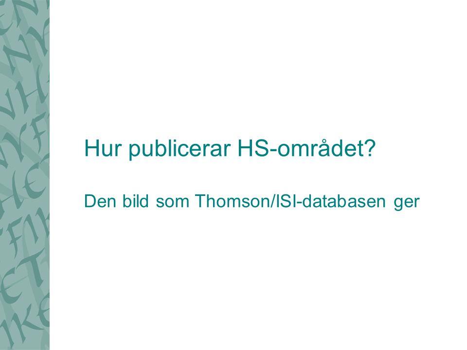 Hur publicerar HS-området? Den bild som Thomson/ISI-databasen ger