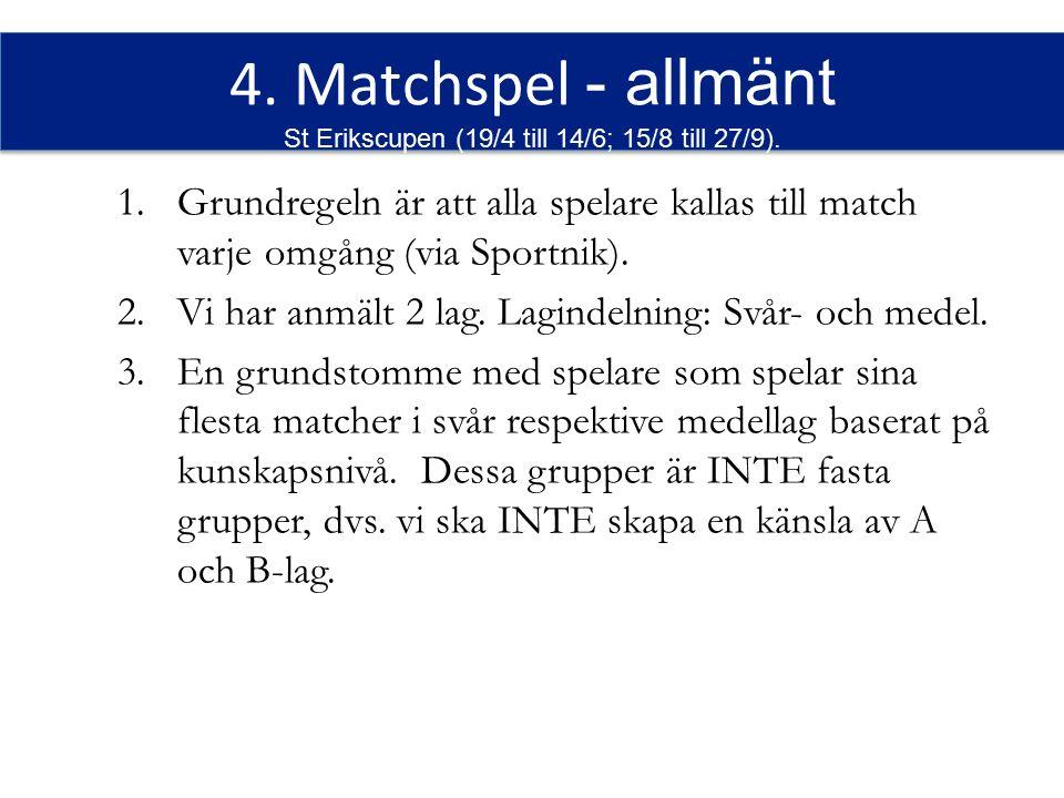 4. Matchspel - allmänt St Erikscupen (19/4 till 14/6; 15/8 till 27/9).