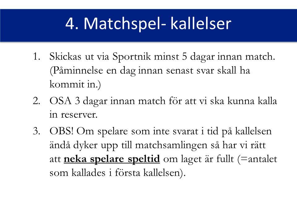 4. Matchspel- kallelser 1.Skickas ut via Sportnik minst 5 dagar innan match.