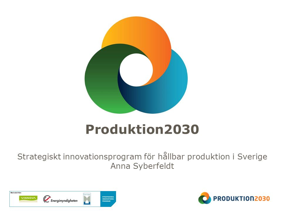 Produktion2030 Strategiskt innovationsprogram för hållbar produktion i Sverige Anna Syberfeldt