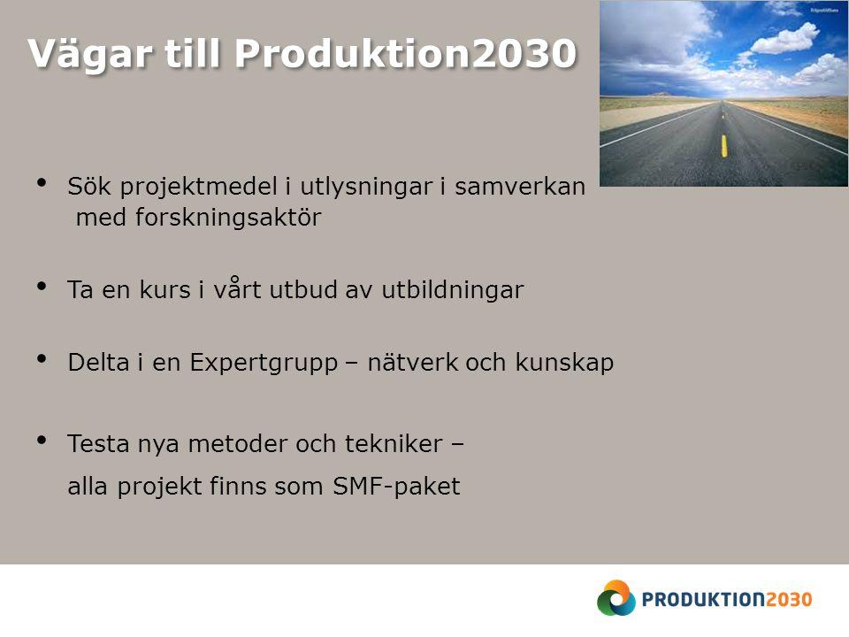 Vägar till Produktion2030 Sök projektmedel i utlysningar i samverkan med forskningsaktör Ta en kurs i vårt utbud av utbildningar Delta i en Expertgrupp – nätverk och kunskap Testa nya metoder och tekniker – alla projekt finns som SMF-paket