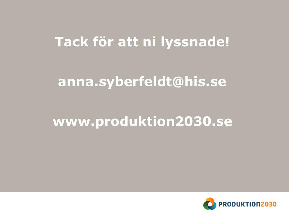 Tack för att ni lyssnade! anna.syberfeldt@his.se www.produktion2030.se