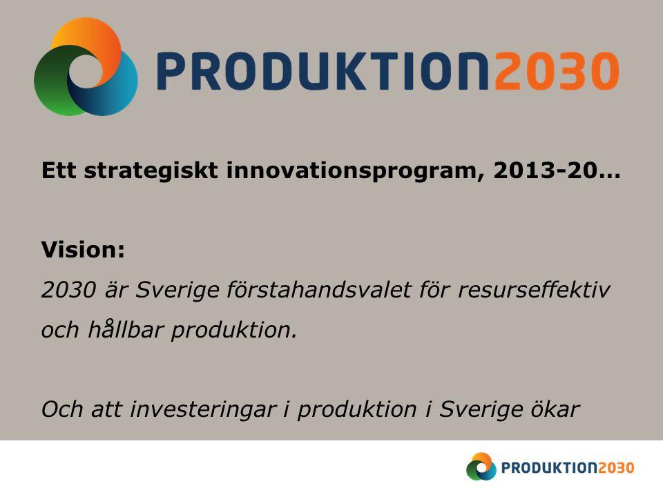 Ett strategiskt innovationsprogram, 2013-20… Vision: 2030 är Sverige förstahandsvalet för resurseffektiv och hållbar produktion.