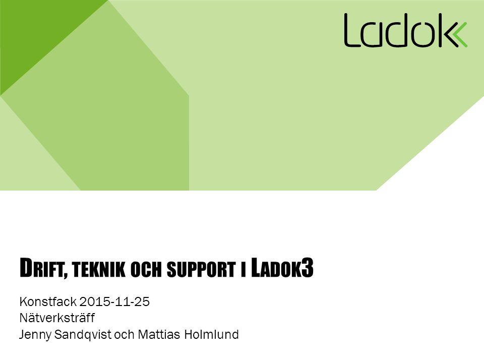 D RIFT, TEKNIK OCH SUPPORT I L ADOK 3 Konstfack 2015-11-25 Nätverksträff Jenny Sandqvist och Mattias Holmlund