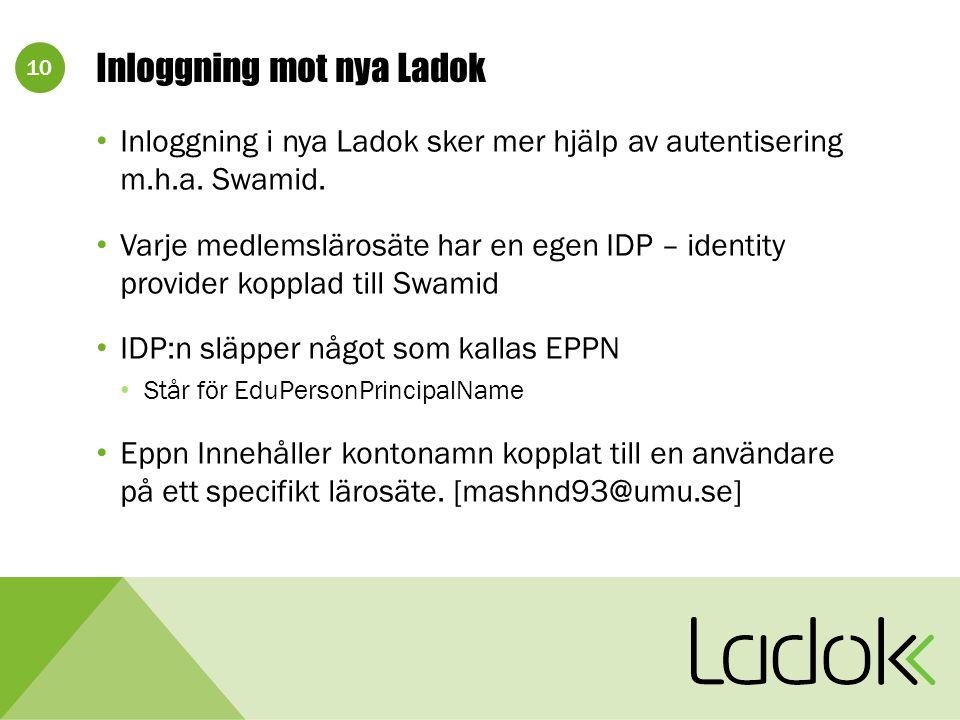 10 Inloggning mot nya Ladok Inloggning i nya Ladok sker mer hjälp av autentisering m.h.a.