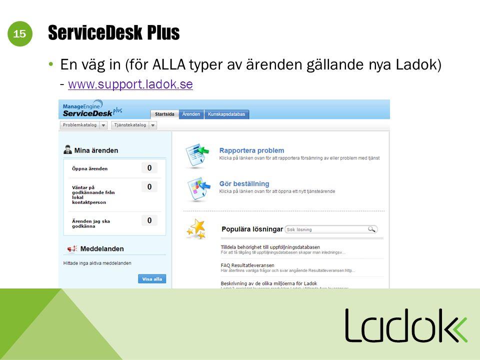 15 En väg in (för ALLA typer av ärenden gällande nya Ladok) - www.support.ladok.se www.support.ladok.se ServiceDesk Plus