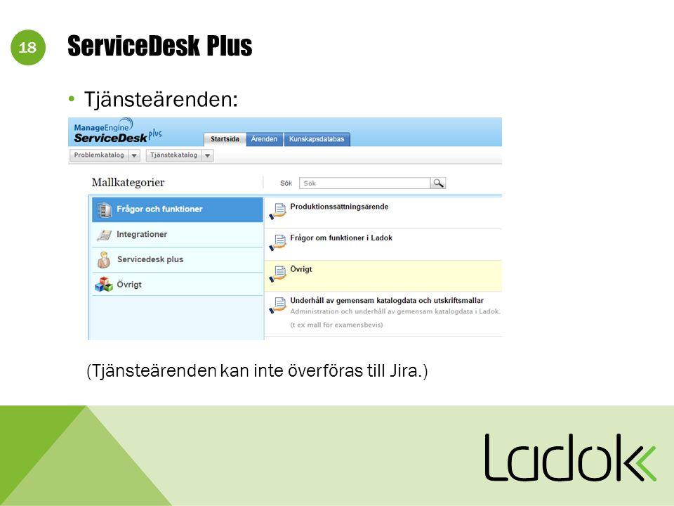 18 Tjänsteärenden: (Tjänsteärenden kan inte överföras till Jira.) ServiceDesk Plus