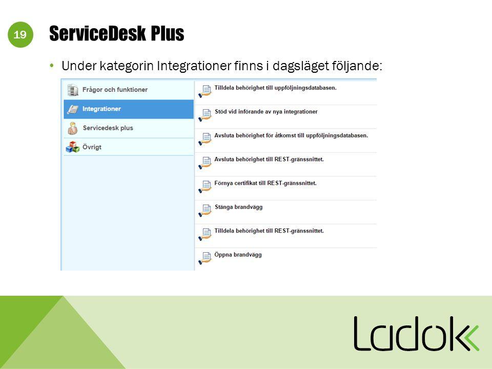 19 Under kategorin Integrationer finns i dagsläget följande: ServiceDesk Plus