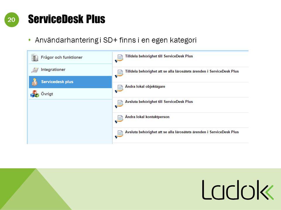 20 Användarhantering i SD+ finns i en egen kategori ServiceDesk Plus