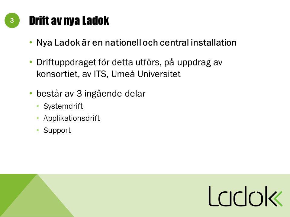 3 Drift av nya Ladok Nya Ladok är en nationell och central installation Driftuppdraget för detta utförs, på uppdrag av konsortiet, av ITS, Umeå Universitet består av 3 ingående delar Systemdrift Applikationsdrift Support