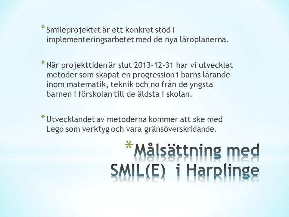 * Smileprojektet är ett konkret stöd i implementeringsarbetet med de nya läroplanerna. * När projekttiden är slut 2013-12-31 har vi utvecklat metoder