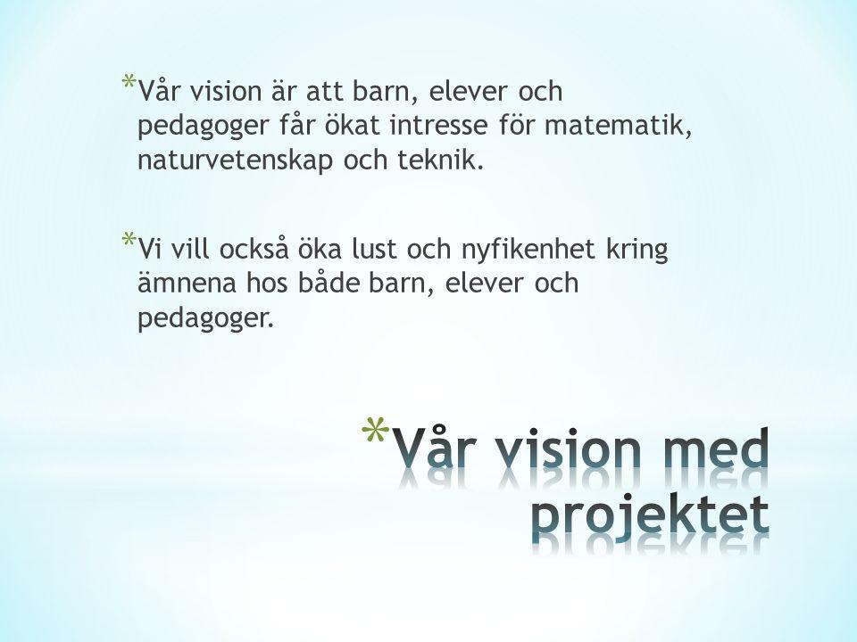* Vår vision är att barn, elever och pedagoger får ökat intresse för matematik, naturvetenskap och teknik.