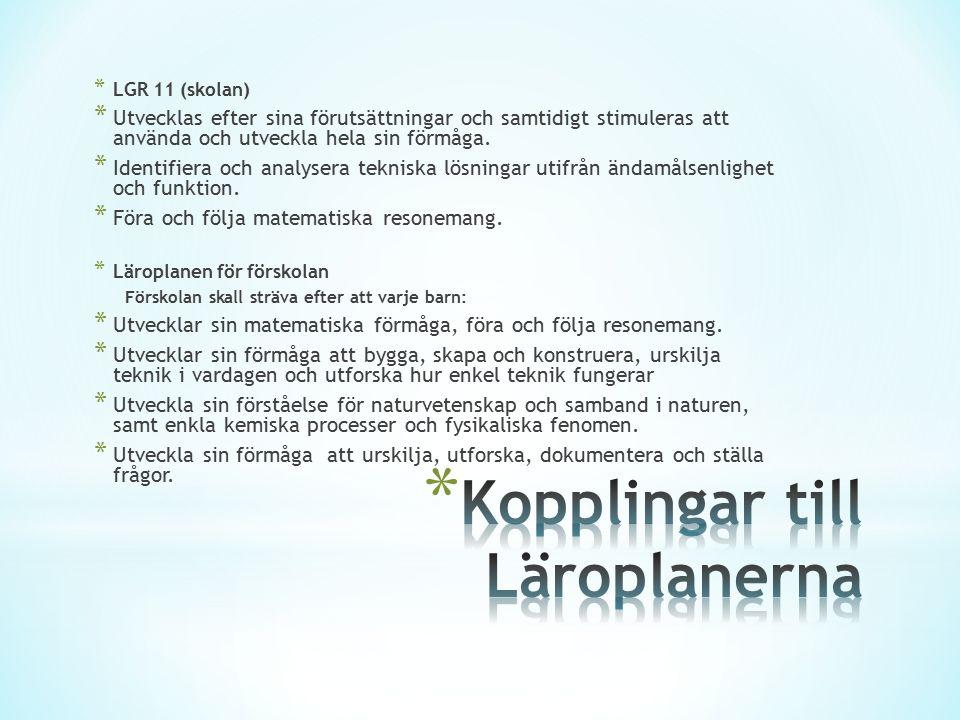 * LGR 11 (skolan) * Utvecklas efter sina förutsättningar och samtidigt stimuleras att använda och utveckla hela sin förmåga. * Identifiera och analyse