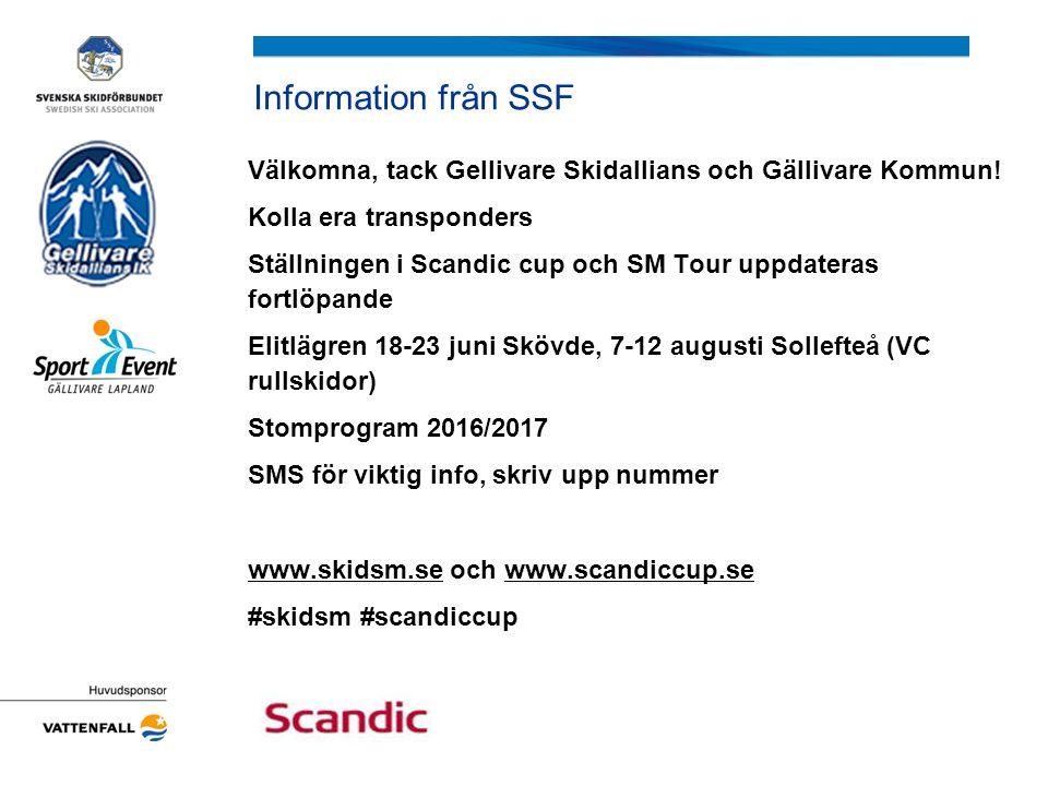 Information från SSF Välkomna, tack Gellivare Skidallians och Gällivare Kommun! Kolla era transponders Ställningen i Scandic cup och SM Tour uppdatera