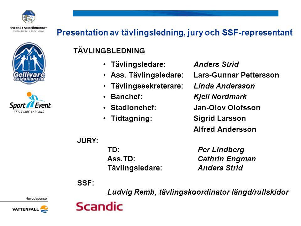 Presentation av tävlingsledning, jury och SSF-representant JURY: TD: Per Lindberg Ass.TD: Cathrin Engman Tävlingsledare:Anders Strid SSF: Ludvig Remb,