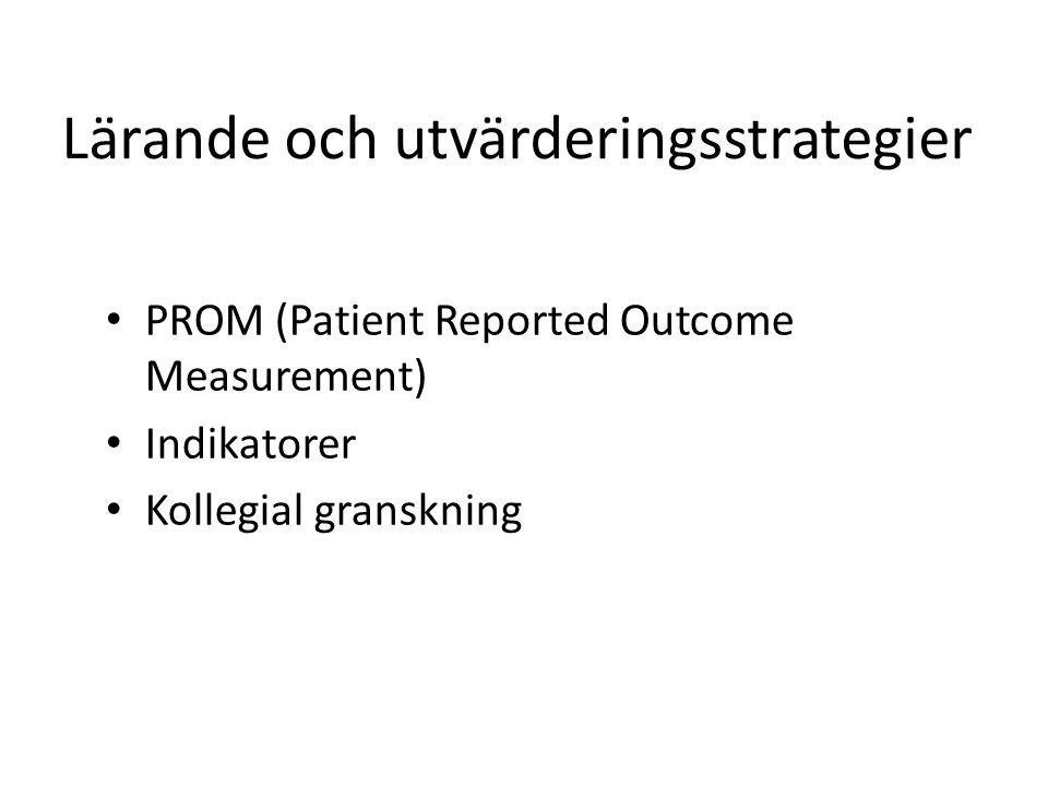 Lärande och utvärderingsstrategier PROM (Patient Reported Outcome Measurement) Indikatorer Kollegial granskning