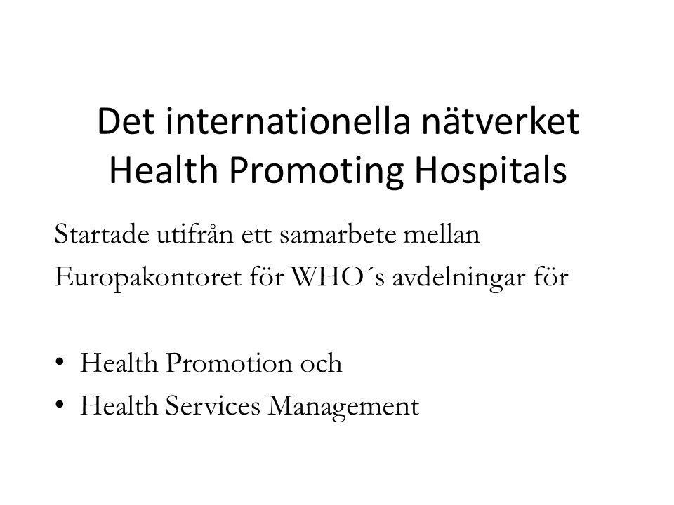 Det internationella nätverket Health Promoting Hospitals Startade utifrån ett samarbete mellan Europakontoret för WHO´s avdelningar för Health Promoti
