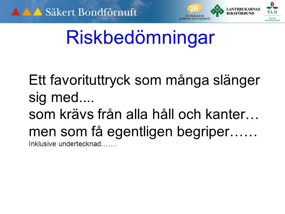 Riskbedömningar Ett favorituttryck som många slänger sig med....