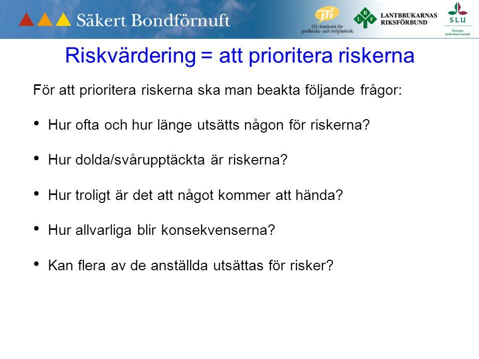 Riskvärdering = att prioritera riskerna För att prioritera riskerna ska man beakta följande frågor: Hur ofta och hur länge utsätts någon för riskerna.