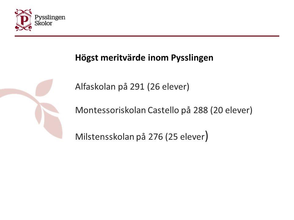Högst meritvärde inom Pysslingen Alfaskolan på 291 (26 elever) Montessoriskolan Castello på 288 (20 elever) Milstensskolan på 276 (25 elever )