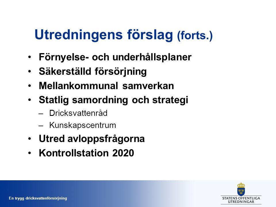 En trygg dricksvattenförsörjning Utredningens förslag (forts.) Förnyelse- och underhållsplaner Säkerställd försörjning Mellankommunal samverkan Statlig samordning och strategi –Dricksvattenråd –Kunskapscentrum Utred avloppsfrågorna Kontrollstation 2020