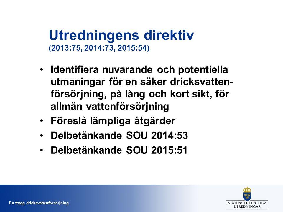 En trygg dricksvattenförsörjning Utredningens direktiv (2013:75, 2014:73, 2015:54) Identifiera nuvarande och potentiella utmaningar för en säker dricksvatten- försörjning, på lång och kort sikt, för allmän vattenförsörjning Föreslå lämpliga åtgärder Delbetänkande SOU 2014:53 Delbetänkande SOU 2015:51