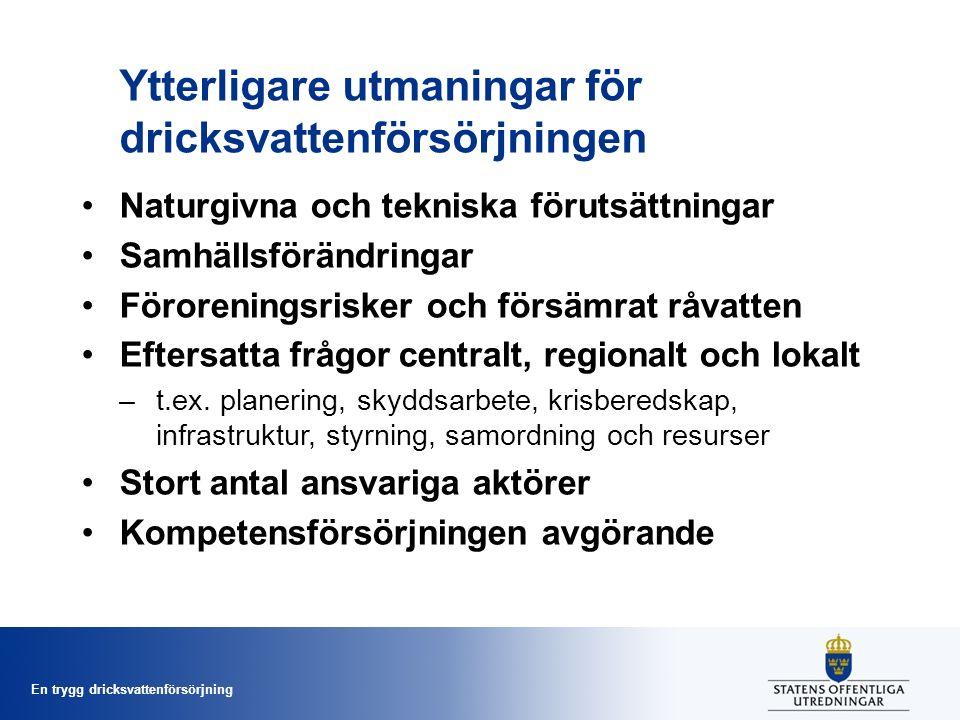 En trygg dricksvattenförsörjning Ytterligare utmaningar för dricksvattenförsörjningen Naturgivna och tekniska förutsättningar Samhällsförändringar Föroreningsrisker och försämrat råvatten Eftersatta frågor centralt, regionalt och lokalt –t.ex.