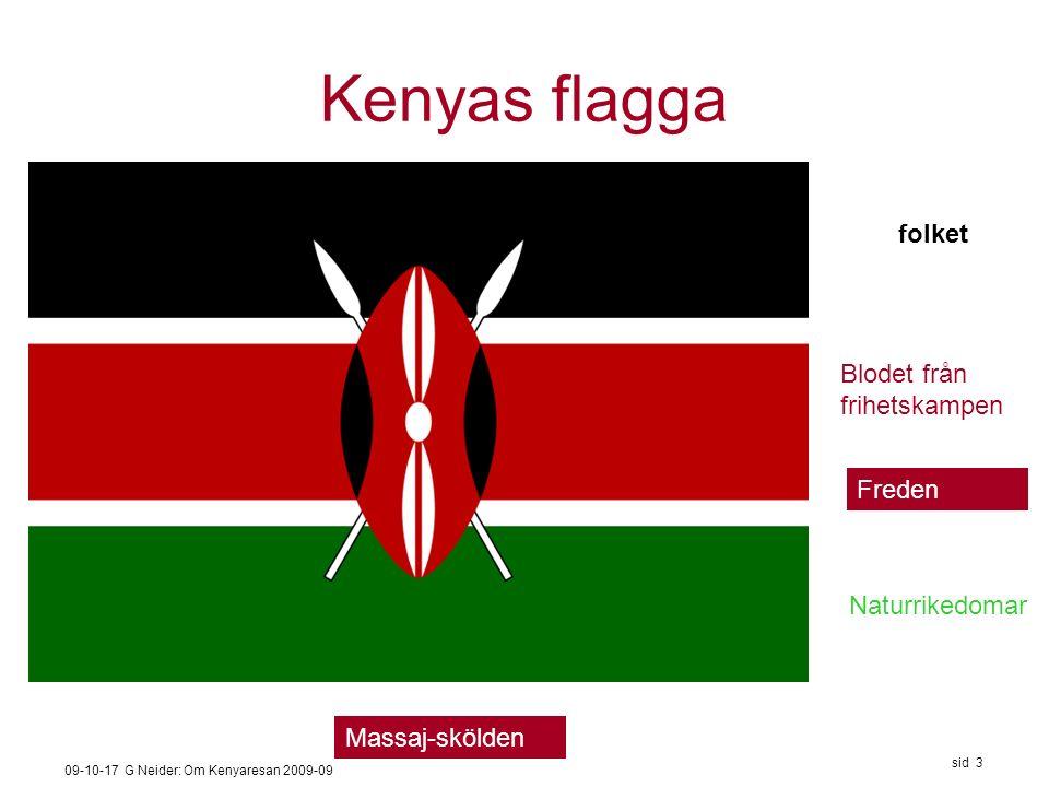 09-10-17 G Neider: Om Kenyaresan 2009-09 sid 3 Kenyas flagga folket Blodet från frihetskampen Naturrikedomar Freden Massaj-skölden