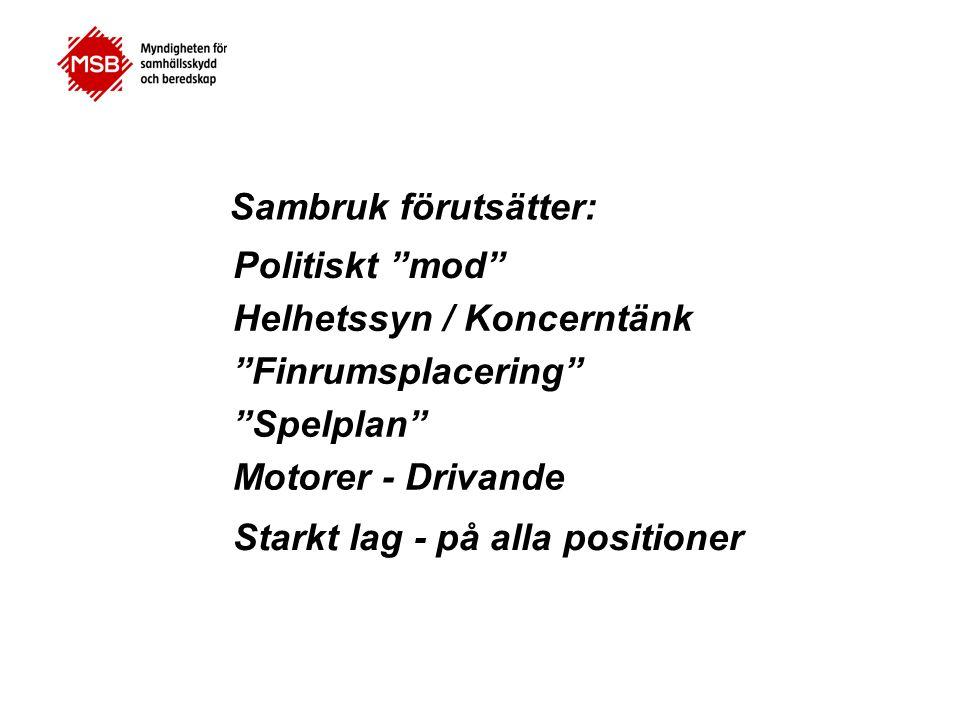 """Sambruk förutsätter: Politiskt """"mod"""" Helhetssyn / Koncerntänk """"Finrumsplacering"""" """"Spelplan"""" Motorer - Drivande Starkt lag - på alla positioner"""