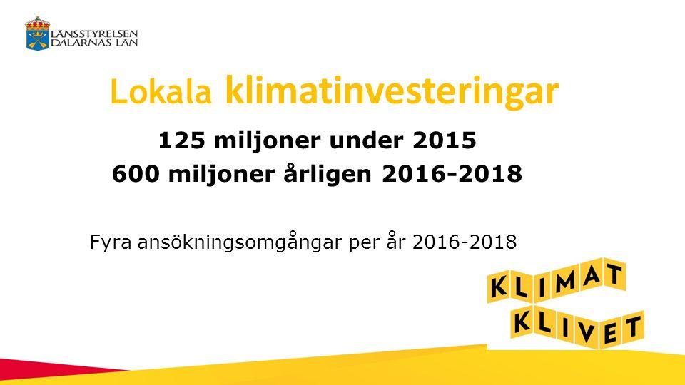 Lokala klimatinvesteringar 125 miljoner under 2015 600 miljoner årligen 2016-2018 Fyra ansökningsomgångar per år 2016-2018