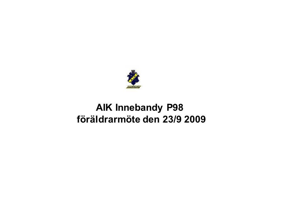 Agenda Sportsligt, seriespel, kallelser Matchprotokoll – Skall vi fylla i fom denna säsong Cuper - status Ekononomi – status idag – långsiktigt mål Kläder – kostnader – sponsring Händelser i närtid – Solna Hallen, Tallbacka, AIK stilsaktivitet Hejarklack Ny ramsa för spelarna AIK Innebandy P98 föräldrarmöte