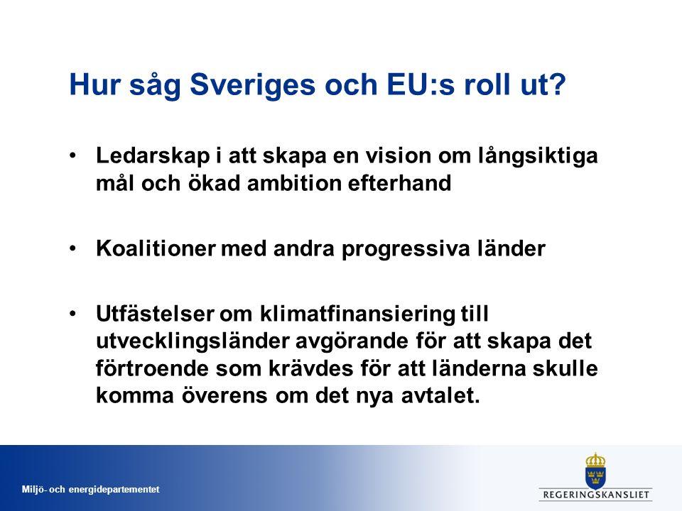 Miljö- och energidepartementet Hur såg Sveriges och EU:s roll ut.