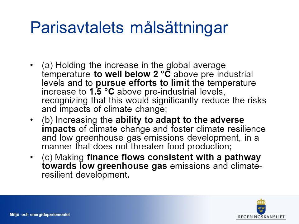 Miljö- och energidepartementet Världens länder ska minska utsläppen kontinuerligt Krav på att förbereda och kommunicera och nationellt bestämda bidrag för utsläppsbegränsningar (NDCs) vart femte år.