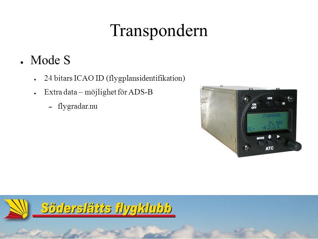 Transpondern ● Mode S ● 24 bitars ICAO ID (flygplansidentifikation) ● Extra data – möjlighet för ADS-B – flygradar.nu