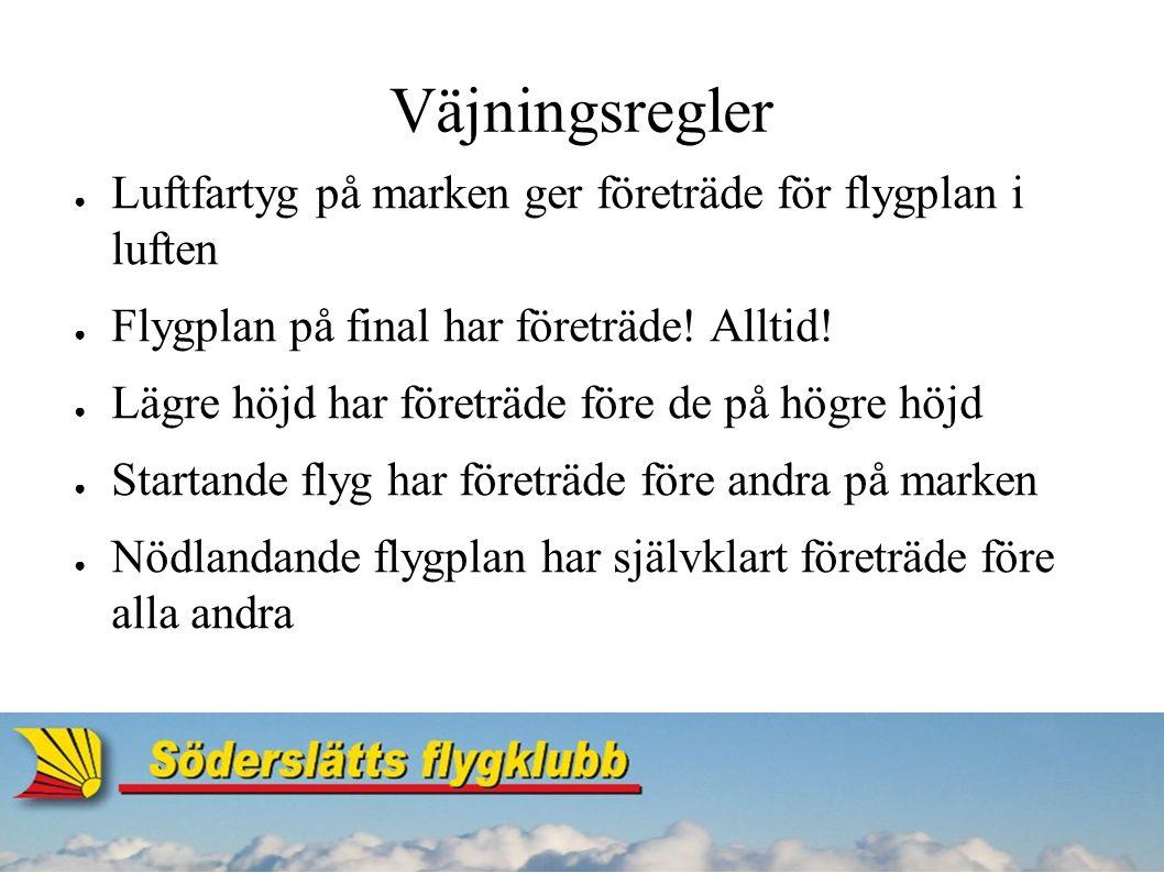Väjningsregler ● Luftfartyg på marken ger företräde för flygplan i luften ● Flygplan på final har företräde.