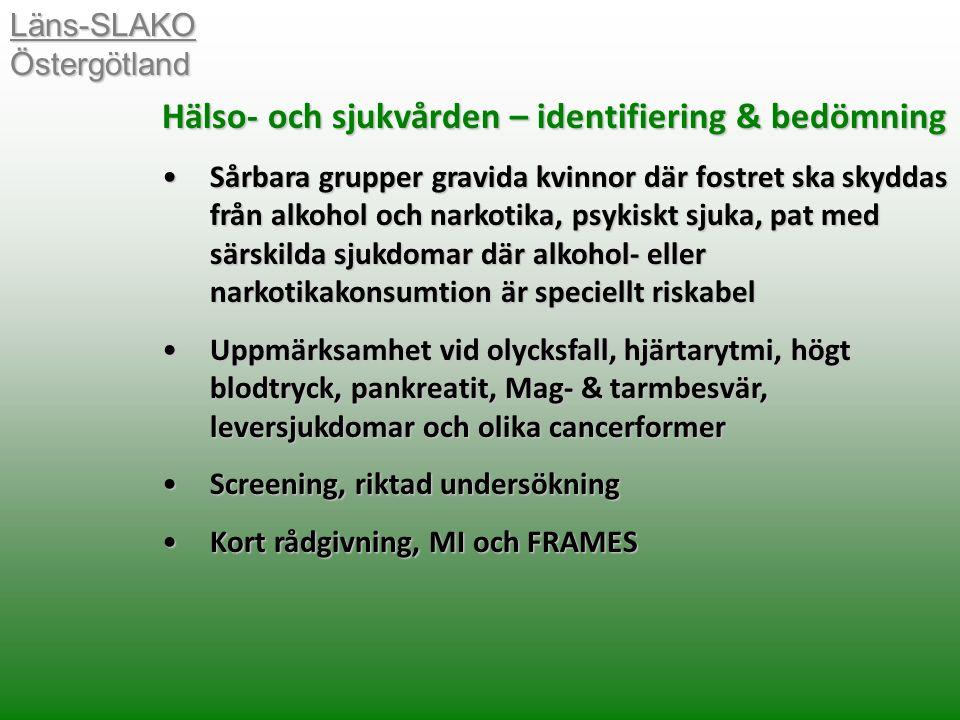 Hälso- och sjukvården – identifiering & bedömning Sårbara grupper gravida kvinnor där fostret ska skyddas från alkohol och narkotika, psykiskt sjuka, pat med särskilda sjukdomar där alkohol- eller narkotikakonsumtion är speciellt riskabelSårbara grupper gravida kvinnor där fostret ska skyddas från alkohol och narkotika, psykiskt sjuka, pat med särskilda sjukdomar där alkohol- eller narkotikakonsumtion är speciellt riskabel Uppmärksamhet vid olycksfall, hjärtarytmi, högt blodtryck, pankreatit, Mag- & tarmbesvär, leversjukdomar och olika cancerformerUppmärksamhet vid olycksfall, hjärtarytmi, högt blodtryck, pankreatit, Mag- & tarmbesvär, leversjukdomar och olika cancerformer Screening, riktad undersökningScreening, riktad undersökning Kort rådgivning, MI och FRAMESKort rådgivning, MI och FRAMES Läns-SLAKO Östergötland
