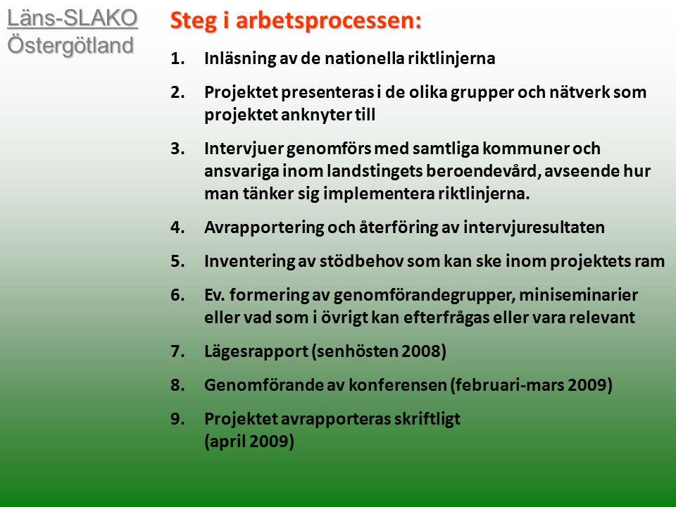 Läns-SLAKO Östergötland Steg i arbetsprocessen: 1.Inläsning av de nationella riktlinjerna 2.Projektet presenteras i de olika grupper och nätverk som projektet anknyter till 3.Intervjuer genomförs med samtliga kommuner och ansvariga inom landstingets beroendevård, avseende hur man tänker sig implementera riktlinjerna.
