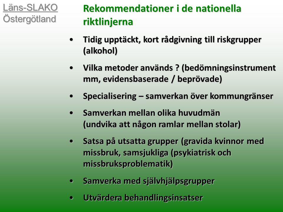 Rekommendationer i de nationella riktlinjerna Tidig upptäckt, kort rådgivning till riskgrupper (alkohol)Tidig upptäckt, kort rådgivning till riskgrupper (alkohol) Vilka metoder används .