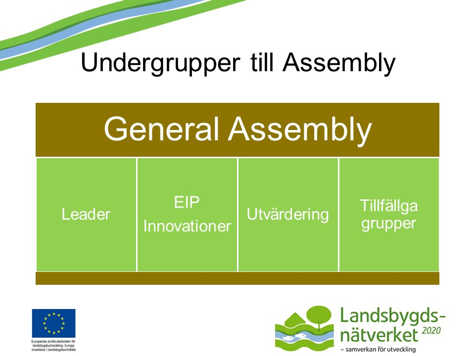 Undergrupper till Assembly General Assembly Leader EIP Innovationer Utvärdering Tillfällga grupper