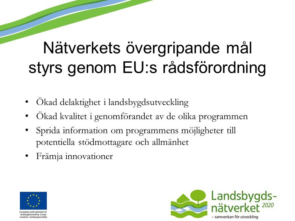 Nätverkets övergripande mål styrs genom EU:s rådsförordning Ökad delaktighet i landsbygdsutveckling Ökad kvalitet i genomförandet av de olika programmen Sprida information om programmens möjligheter till potentiella stödmottagare och allmänhet Främja innovationer