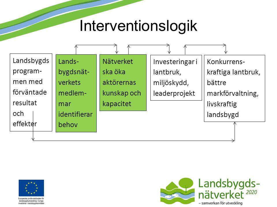 Interventionslogik Landsbygds program- men med förväntade resultat och effekter Lands- bygdsnät- verkets medlem- mar identifierar behov Nätverket ska öka aktörernas kunskap och kapacitet Investeringar i lantbruk, miljöskydd, leaderprojekt Konkurrens- kraftiga lantbruk, bättre markförvaltning, livskraftig landsbygd