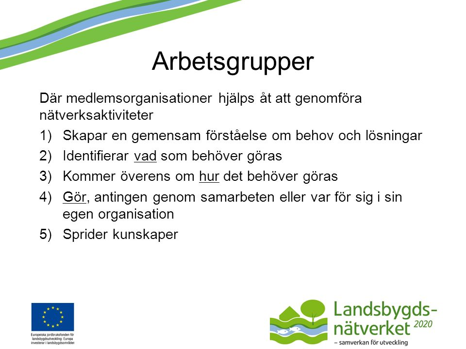 Aktuella arbetsgrupper Gröna Näringar – utökad Samordningsgrupp – utökad Arbetsgrupp för samordning - etablerad