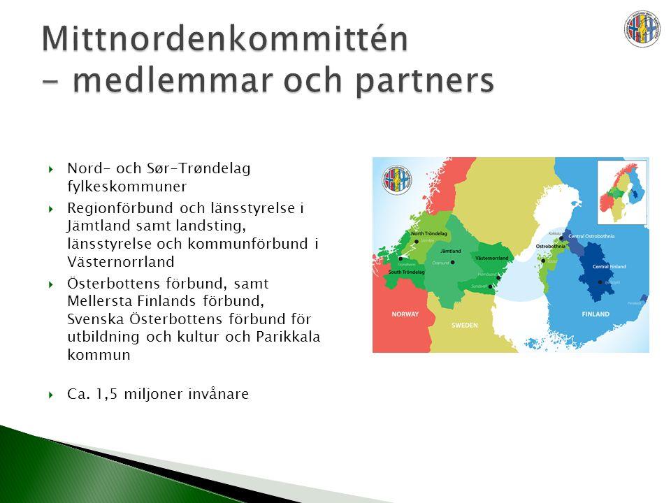  Nord- och Sør-Trøndelag fylkeskommuner  Regionförbund och länsstyrelse i Jämtland samt landsting, länsstyrelse och kommunförbund i Västernorrland  Österbottens förbund, samt Mellersta Finlands förbund, Svenska Österbottens förbund för utbildning och kultur och Parikkala kommun  Ca.