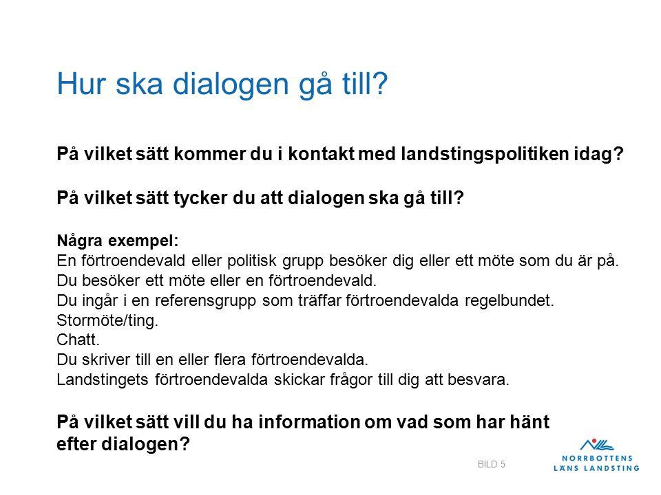Hur ska dialogen gå till. På vilket sätt kommer du i kontakt med landstingspolitiken idag.