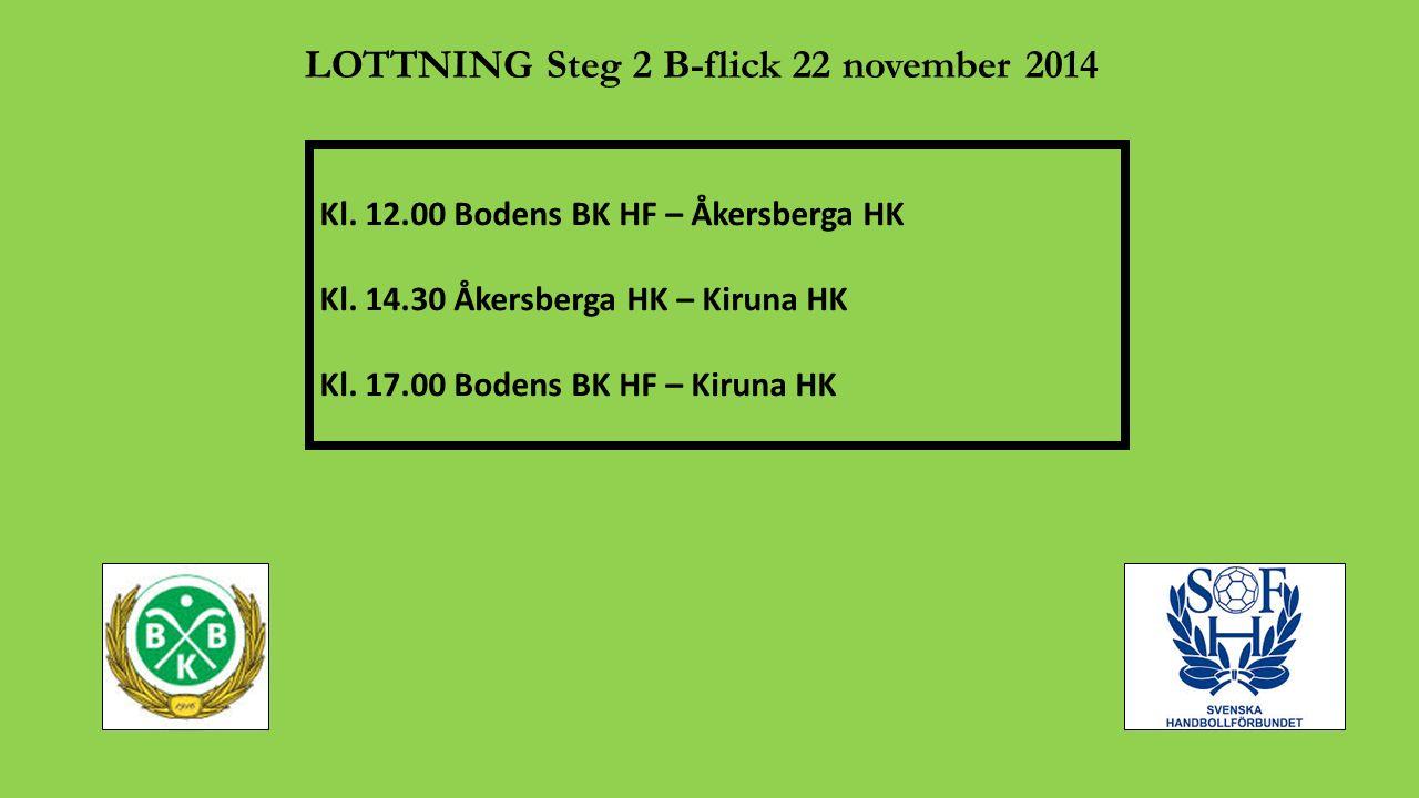 LOTTNING Steg 2 B-flick 22 november 2014 Kl. 12.00 Bodens BK HF – Åkersberga HK Kl. 14.30 Åkersberga HK – Kiruna HK Kl. 17.00 Bodens BK HF – Kiruna HK