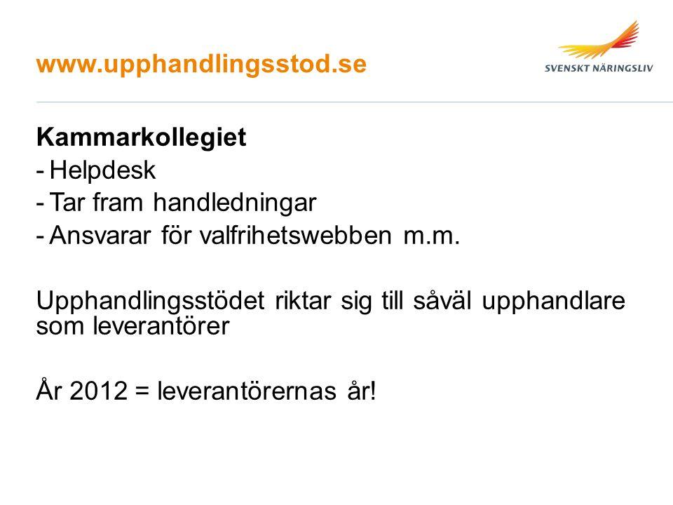 www.upphandlingsstod.se Kammarkollegiet -Helpdesk -Tar fram handledningar -Ansvarar för valfrihetswebben m.m.